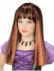 Heksen pruik met oranje plukken voor meisjes