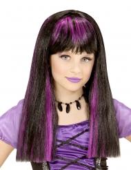 Heks pruik met paarse plukken voor meisjes