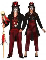 Gestreept voodoo koppelkostuum voor volwassenen