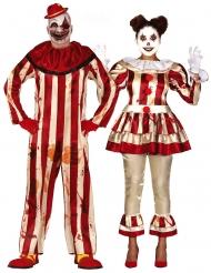 Enge horror clown koppelkostuum voor volwassenen