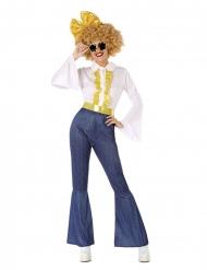 Goudkleurig en jean disco kostuum voor vrouwen
