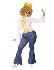Goudkleurige en jean disco outfit voor vrouwen - Plus Size