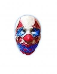 Blauw LED clown masker van latex voor volwassenen