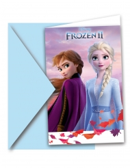 6 kartonnen Frozen 2™ uitnodigingen en enveloppen