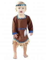 Blauw met bruin indianen jurkje voor baby