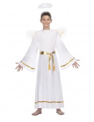 Witte engel kostuum met goudkleurige riem voor kinderen