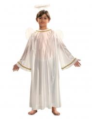 Wit engel kostuum met goudkleurige randen voor kinderen