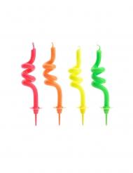 4 Spiraalvormige kaarsjes veelkleurig 8 cm