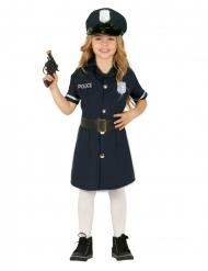 Blauw politie kostuum met riem en pet voor meisjes