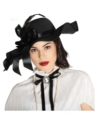 Zwarte hoed met veren voor dames