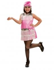 Roze charleston kostuum met hoedje voor meiden