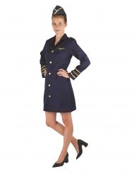 Donkerblauw stewardess kostuum voor dames
