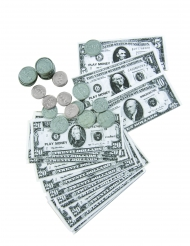 Dollar biljetten en munten