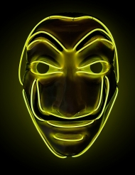 Geel LED masker bankovervaller volwassenen