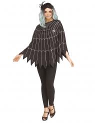 Zilverkleurige spinnenweb poncho voor vrouwen