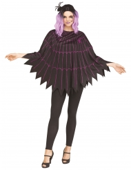 Paarse spinnenweb poncho voor dames