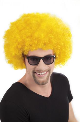Gele afro discopruik voor volwassenen