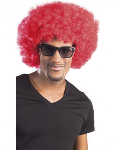 Rode afro / clown pruik voor volwassenen
