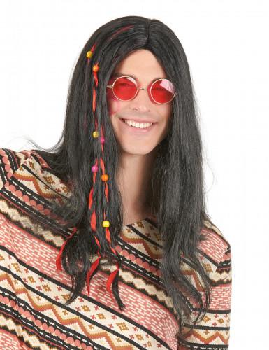 Zwarte hippiepruik voor volwassenen.