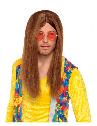 Kastanjebruine hippiepruik voor volwassenen