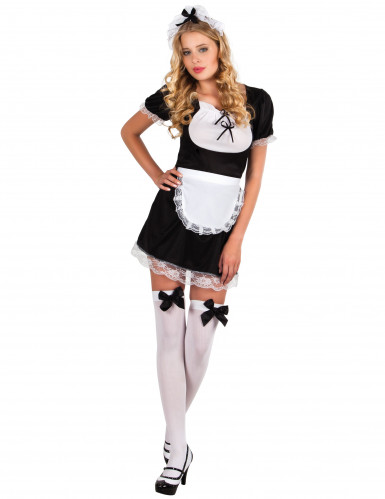 Sexy wit en zwart kamermeisje kostuum voor dames