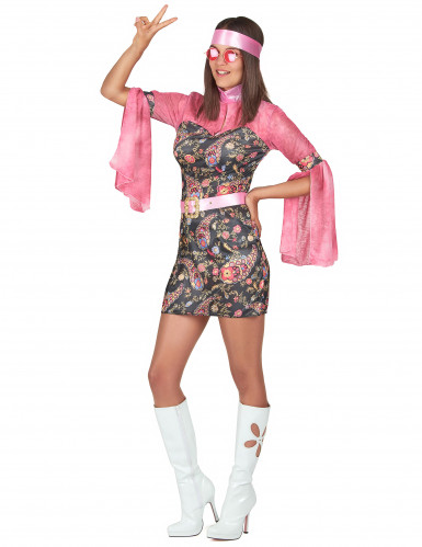 Roze disco kostuum met bloemenpatronen voor vrouwen-1