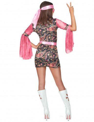 Roze disco kostuum met bloemenpatronen voor vrouwen-2