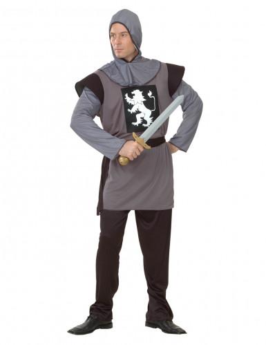 Grijs middeleeuws leeuwenridder pak voor mannen