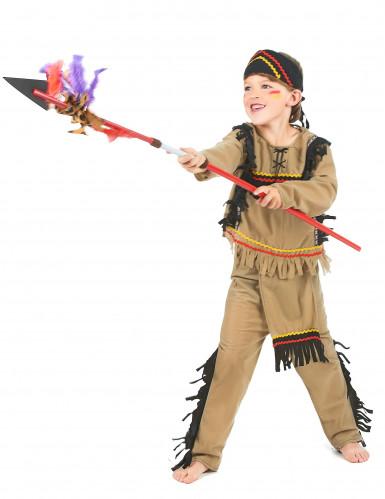 Indianen kostuum met zwarte franjes voor jongens-1