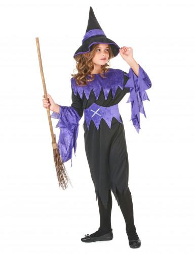 Zwart en paars gekleurd heksen kostuum voor meisjes-1