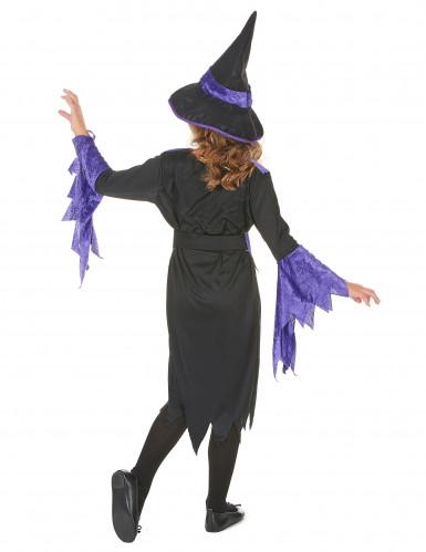 Zwart en paars gekleurd heksen kostuum voor meisjes-2