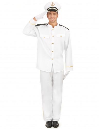 Wit zeeman kapitein kostuum voor mannen