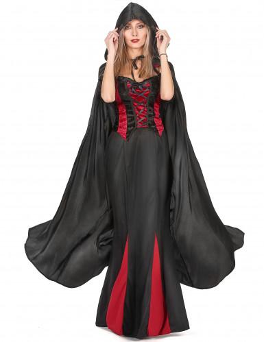 Zwarte Vampirella-cape voor volwassenen Halloween