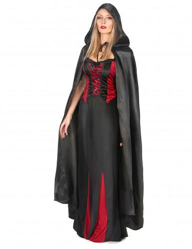 Zwarte Vampirella-cape voor volwassenen Halloween-1