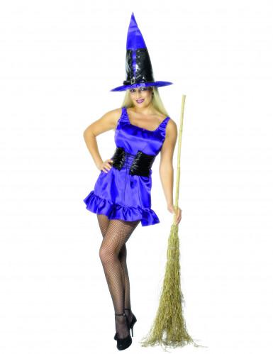 Sexy blauw heksen kostuum voor dames