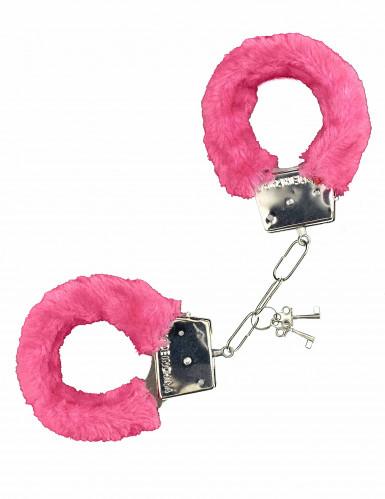 Roze nep bonten handboeien