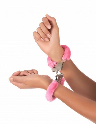 Roze nep bonten handboeien-1