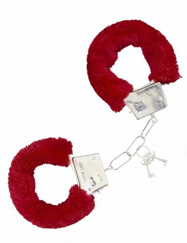 Handboeien met rood nep bont