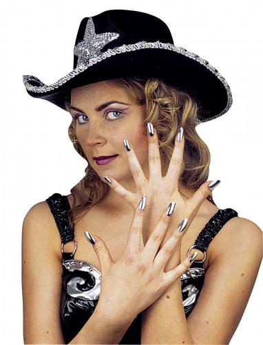 Set met 15 zilverkleurige valse nagels voor dames