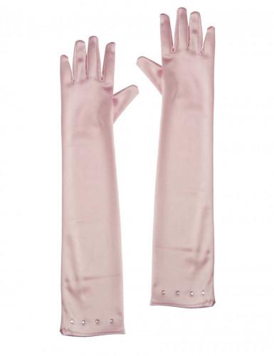 Lange roze handschoenen voor kinderen