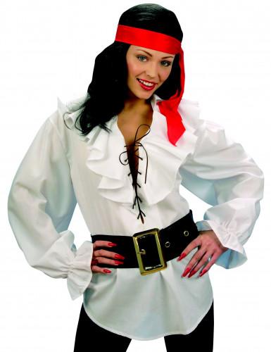 Witte piraten blouse met riem voor vrouwen