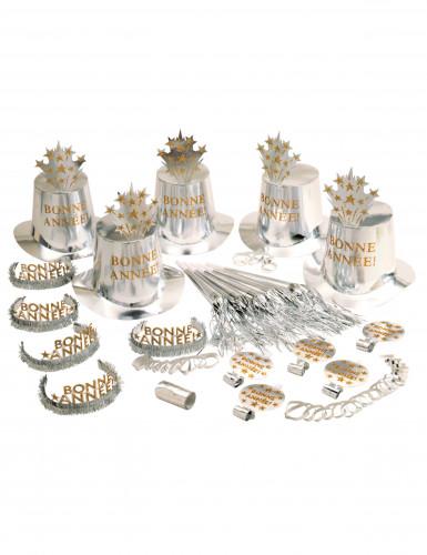 Set cotillon zilver Gelukkig Nieuw Jaar