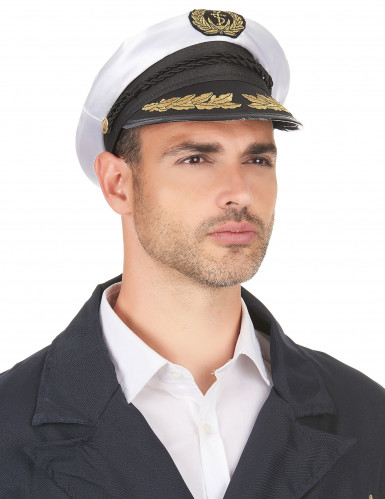 Wit met zwarte kapiteinspet voor volwassenen-2