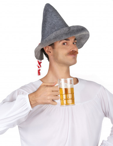 Grijze Beierse hoed met touwtje voor volwassenen-1