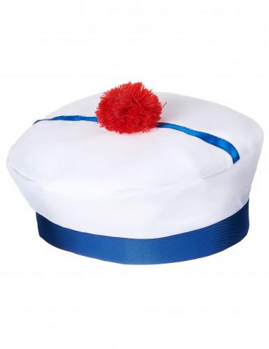 Wit met blauw matrozen hoedje voor volwassenen