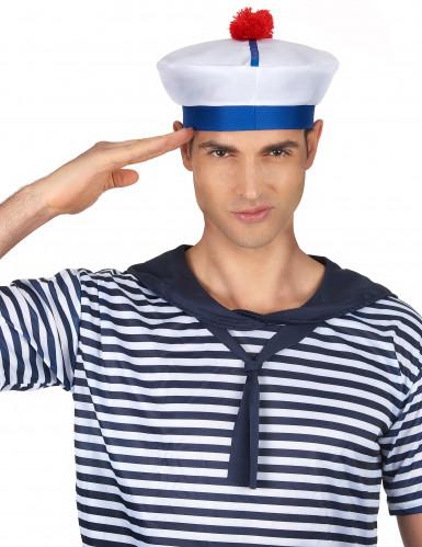 Wit met blauw matrozen hoedje voor volwassenen-1