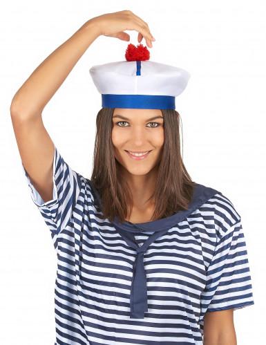 Wit met blauw matrozen hoedje voor volwassenen-2