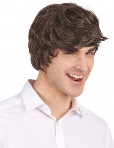 Korte moderne donkerbruine pruik voor mannen