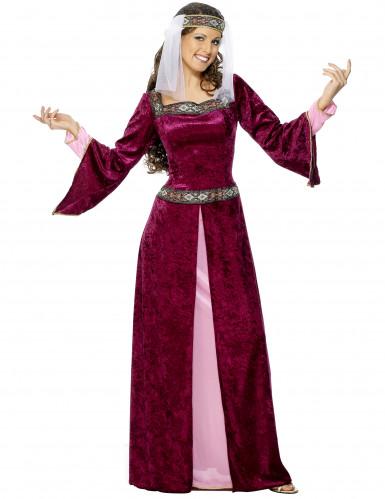 Fluweelachtig middeleeuwse koningin kostuum voor vrouwen