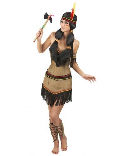 Indiaan kostuum met zwarte franjes voor vrouwen